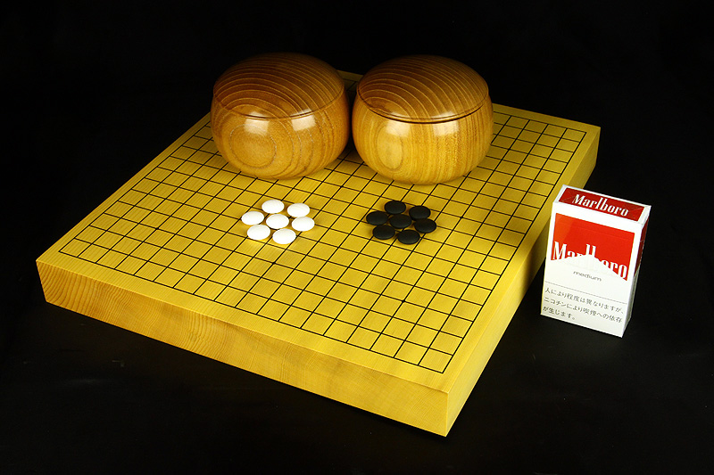 Miniature  Hyuga Kaya Go Board Set 15mm stones Masame or Tenchimasa